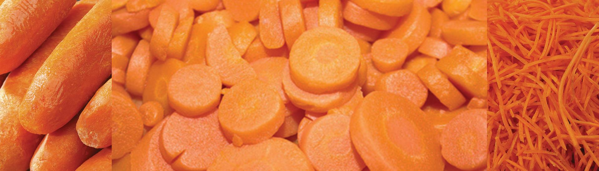 carottes éboutées, carottes pelées, carottes en rondelles, carottes rapées