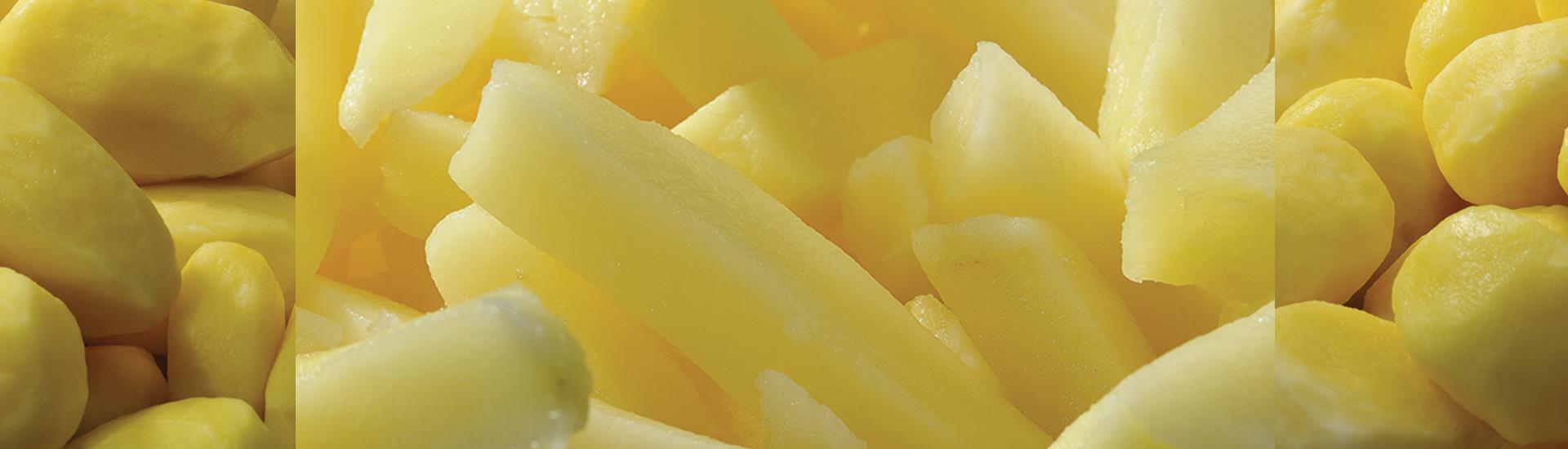 pommes de terre crues, pommes de terre entières, pommes de terre pelées, frites fraiches, légumes de 4ème gammes